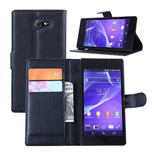 Ycloud Tasche für Sony Xperia M2 (4.8 Zoll) Hülle, PU Ledertasche Flip Cover Wallet Case Handyhülle mit Stand Function Credit Card Slots Bookstyle Purse Design schwarz