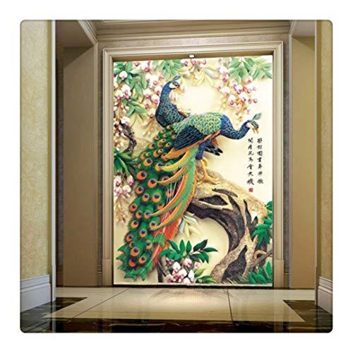 Fototapete Dekor Wallpaper 3D-Fototapete Schöne Pfingstrose Pfau Flower Hallway Entrance Hall Wallpaper Für Wände 3D Wall Paper Tv Hintergrund Kt003,430X300Cm