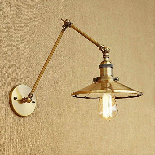 Z&MDH wandlamp in Amerikaanse industriële stijl, met intrekbare lens, opvouwbaar, ijzeren applicaties, diameter 220 mm, 300 mm + 150 mm