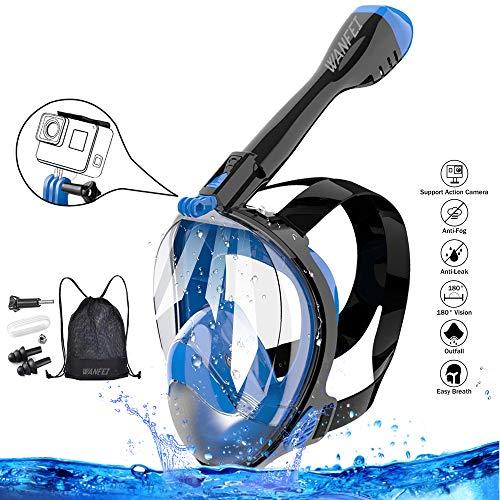 WANFEI Schnorchelmaske Vollmaske Tauchmaske,Neuestes Fortschrittliches Sicherheitsatmungssystem Vollgesichtsmaske mit 180° Sichtfeld und Kamerahaltung (Schwarz/Blau, L/XL)
