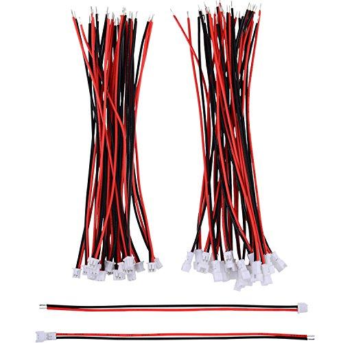 20 Pares 1,25 mm Enchufe de Conector Mancho y Hembra Micro Eléctrico 2 Pines JST con 10 cm de Alambre de Cable