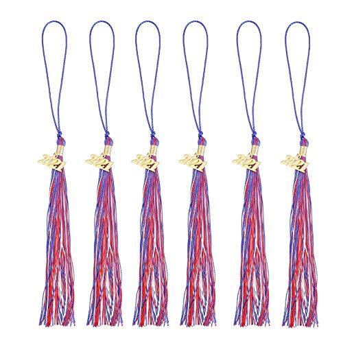 STOBOK 6 Piezas Rojo Azul Borla de Graduación Universitaria con Colgante de Oro 2021 Años para Gorras Graduadas Sombreros Fiestas Ceremonia Colgante de Recuerdo Borla