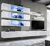 ASM BMF J3 - Mueble de pared de 320 cm de ancho, con dos soportes de TV, estantes flotantes de pared, color blanco brillante