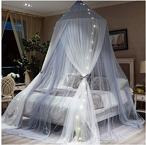 Bedhemel Romantic Princess Universal Ceiling Dome Fantasy Netting Gordijnen Klamboe Opknoping 2 lagen Ultra Dense Full Coverage Protection for tweepersoonsbed Beige Grijs dmqpp