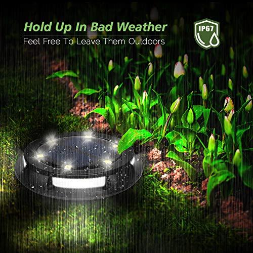 WdtPro Solar Ground Lights Outdoor, 10 LED Solar Disk Lights, IP67 Waterproof Solar Garden Lights for Pathway Garden Yard Walkway Pool (4 Pack)