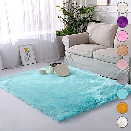 SODKK Runder Teppich Blau Langflor Carpet 110x130cm, Flauschig Weiche Strapazierfähig für Wohnzimmer, Schlafzimmmer, Kinderzimmer, Esszimme