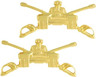 Medals of America Army Armor Officer Branch Insignia Pair Official Issue Gold