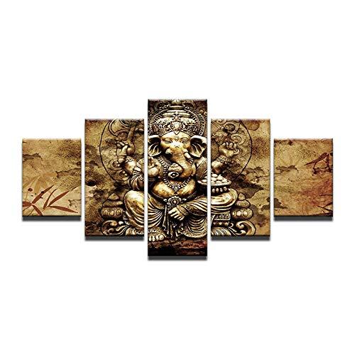 ZDDBD Pintura Abstracta Cuadros de Pared 5 Paneles India Ganesha para Sala de Estar Cartel Decorativo HD Elefante Tronco Dios Lienzo Pintura