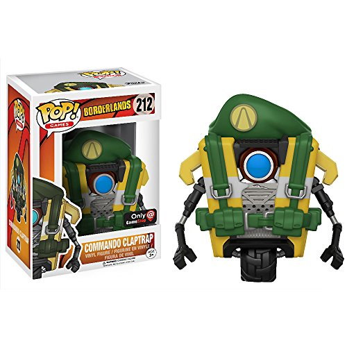 Funko Commando Claptrap (GameStop Exclusive): Borderlands x POP! Games Vinyl Figure & 1 POP! Compatible PET Plastic Graphical Protector Bundle [#212 / 14357 - B]