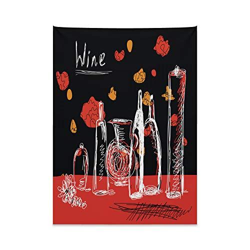 ABAKUHAUS Vino Tappeto da Parete e Copriletto, Bottiglie di Vino e Decanter, Lavabile e Senza Colori sbiaditi, 110 x 150 cm, Multicolore