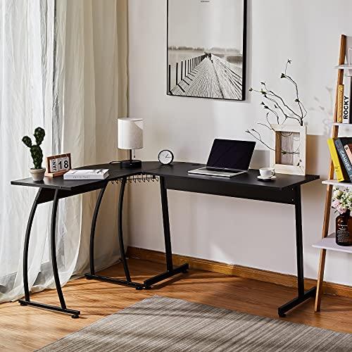 CO-Z Escritorio Esquinero en L de Ordenador para Oficina o Casa 112X147X75CM Mesa en L con Bandeja de Cables Escritorio en Forma de L para Estudios/Gaming (Negro)