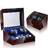 ZNND Watch Caja Giratoria para Relojes Automatico Watch Winder Madera De Reloj De Pulsera para Caber 4 + 6 Relojes Caja De Relojes Mecánicos (Color : E)