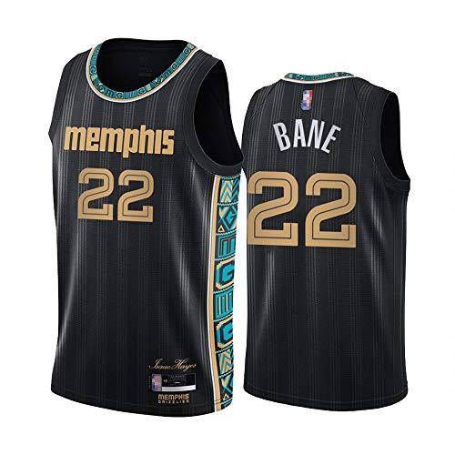 SHR-GCHAO 2021 Camisetas De Baloncesto para Hombres, Memphis Grizzlies 22# Desmond Bane NBA Baloncesto De Baloncesto Ocio Sin Mangas Tops Camisetas Sueltas Chalecos Deportivos,Negro,XL(180~185cm)