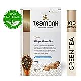 Teamonk Taido Nilgiri té verde jengibre (50 tazas) | té para bajar de peso | té adelgazante | ayuda a mejorar la digestión | té de jengibre natural | hojas sueltas | sin aditivos - 100g