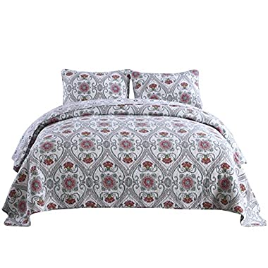NEWLAKE Cotton Bedspread Quilt Sets-Reversible Patchwork Coverlet Set, Floral Paisley Garden Party Pattern, Queen Size