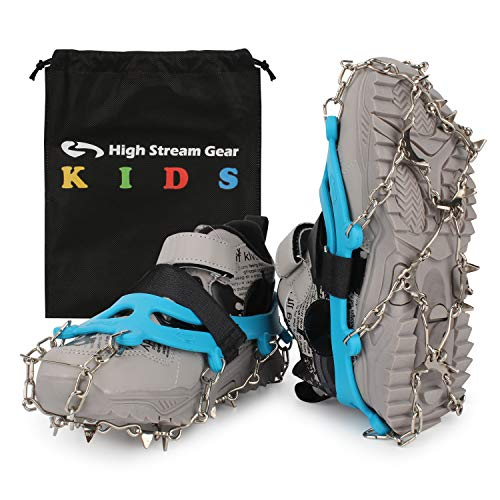 Ice Cleats for Kids - Ice Snow Grips with 14 Stainless Steel Spikes, Anti Slip Traction Cleats for Boys and Girls Boots, Best for Hiking, Climbing, Walking, or Jogging on Ice and Snow (Blue, Medium)