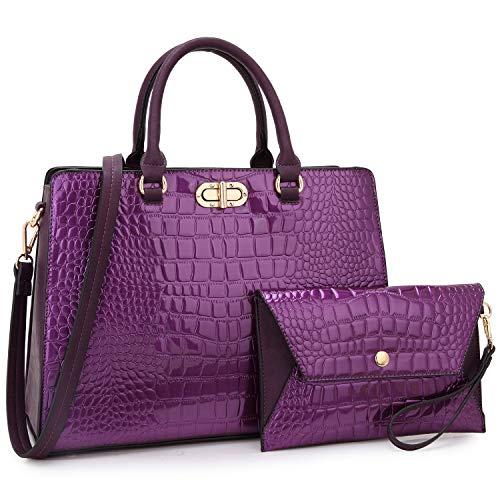 Dasein Women Handbags Fashion Satchel Purses Top Handle Tote Work Bags Shoulder Bags with Matching Clutch 2pcs Set (alligator purple)