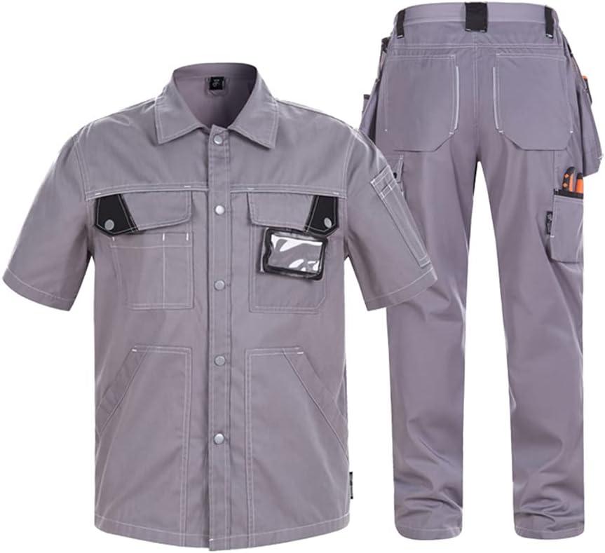YJKJ Jacket Workwear, Work Wear Coat, Summer Thin Section Breathable Wearable Reflective Strip Short Sleeve,A,XXL