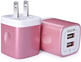 USB Wall Charger, Charger Adapter, Ailkin Dual Port Fast Charger Plug Cube Outlet Replacement for iPhone 7/6S/6S Plus/6 Plus/6/5S/5, Samsung Galaxy S9/S8/S7/S6/S5 Edge, LG, HTC, Huawei, Moto, Kindle
