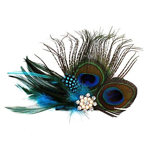 Runheng - Pinza de pelo hecha a mano, diseño de plumas naturales de pavo real, para tocado, con cristal y perla