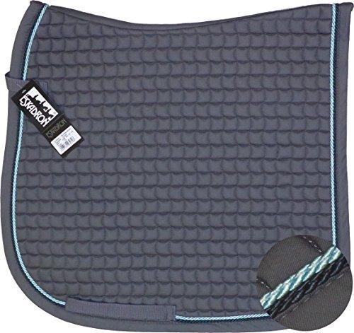 ESKADRON Cotton Schabracke grey, 2fach Kordel darknavy/loight blue, Form:Dressur