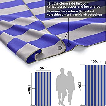 Fit-Flip Serviette Plage XXL 200x90 cm ? Serviette de Sport, Serviette Piscine Grande et légère, Serviette de Bain Microfibre (Bleu foncé - Gris)