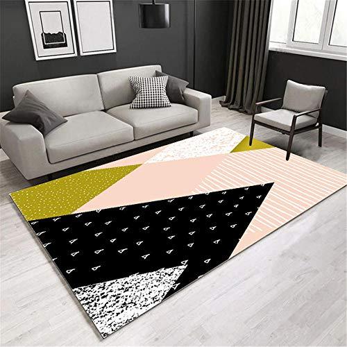 RUGMRZ Auslegware Pink Teppich Wohnzimmer rosa einfache geometrische Muster weichen Teppich Anti-Rutsch Teppiche Wohnzimmer 80X120CM Auslegware Teppichboden 2ft 7.5''X3ft 11.2''