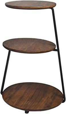 Side Table End Table Coffee Table Small Table Side Tables for Small Spaces Three-Story Living Room Side Table (Color : Brown, Size : 38 * 38 * 61cm)