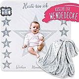 2 Seitige graue Baby Meilenstein Wende Decke mit Sternen, ko Tex Zertifikat, Geschenk zur Geburt