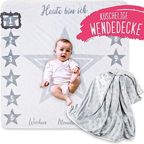 2 Seitige blaue Baby Meilenstein Wende...