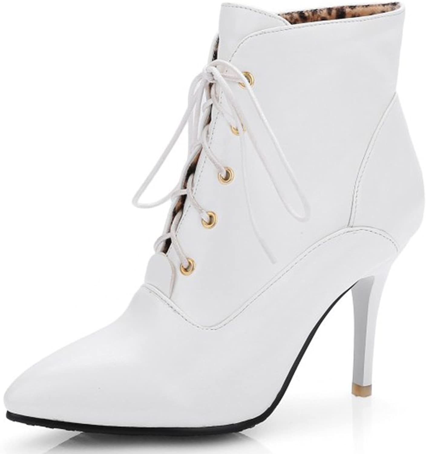 IDIFU Women's Sexy Pointed Toe Stiletto Lace Up Short Ankle Boots Booties High Heels