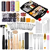 128 Pcs Leather Tools Kit, Leather Craft Kits, Leather Tools and Supplies with Instruction-Groover, Leather Stamping Tools, Waxed Thread, Rivet Kit for Leather Crafting Working