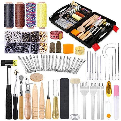 128 Pcs Leather Tools Kit, Leather Craft Kits, Leather Tools and Supplies...