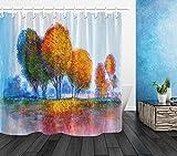 NNAYD1996 Otoño Bosque Árboles Paisaje Pintura Al óleo Arte Impresión Digital a Prueba de Agua y Moho