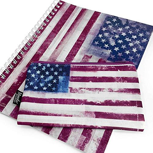"""Monster Stationery, quaderno a righe, formato A4, con astuccio abbinato di neoprene. Prodotto nel Regno Unito. Serie""""Bandiera anticata"""". Motivo: bandiera degli Stati Uniti (stelle e strisce)"""