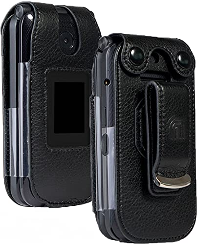 Case for Consumer Cellular Link II, Nakedcellphone [Black Vegan Leather] Form-Fit Cover with [Built-in Screen Protection] and [Metal Belt Clip] for Link 2 Flip Phone (Z2335CC)