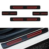 Para Ix20 Ix35 I40 Q240 Santafe Sonata Tucson Veloster Decoración Pegatina Para Estribos,Protección de pedal de umbral,Faldones laterales fibra de carbono,Evitar el desgaste 4Pieza Rojo