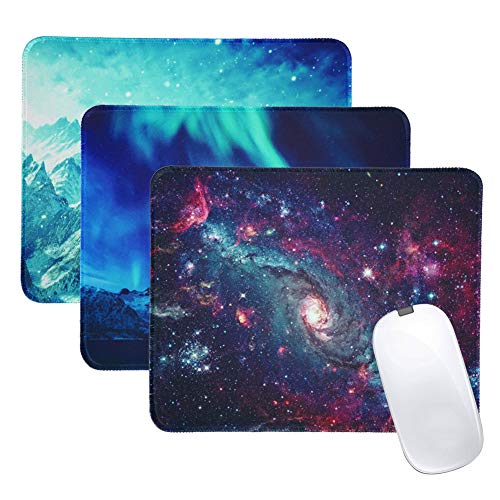 LIZIMANDU 3 Pack Mouse Pad with Stitched Edge,Computer Mouse Pad with Non-Slip Rubber Base,Mouse Pads for Computers Laptop Mouse 10.2 x 8.2 inch (3-Natural Scenery, 3 Pack) (Office Product)
