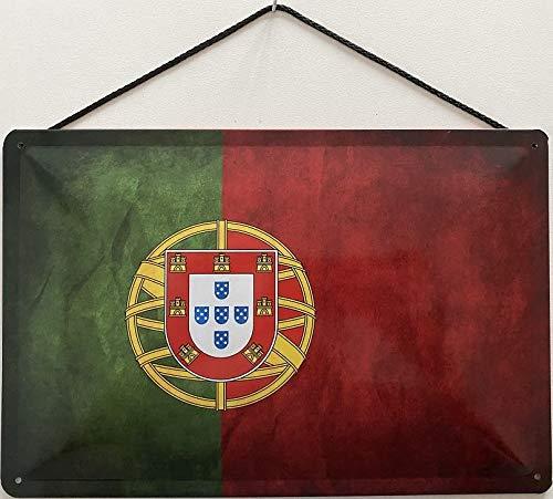 Blechschild mit Kordel 30 x 20 cm Portugal Flagge - Blechemma