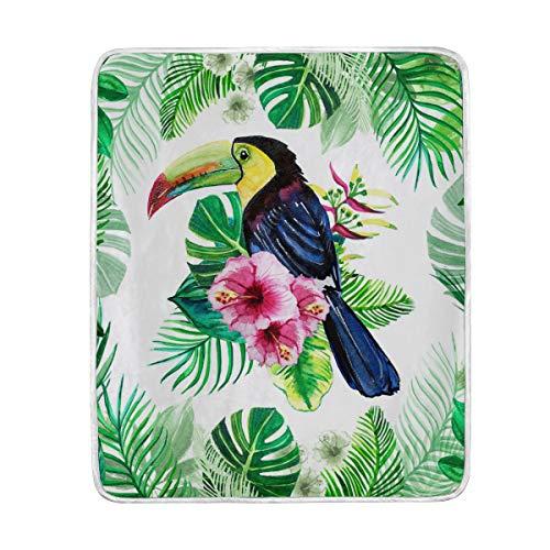 DOSHINE Manta de Pájaros Exóticos Tucan Tropicales Hojas Suave Ligero Calentador Mantas 50 x 60 Pulgadas para Sofá Cama Silla Oficina