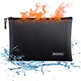 BluePower Bolsa de Documento Ignífuga y Impermeable A4 15× 11,Bolsa de Batería Seguridad Anti Explosión,porta sobres con cremallera para documentos A4apta para,efectivo, factura,iPad,teléfono móvil