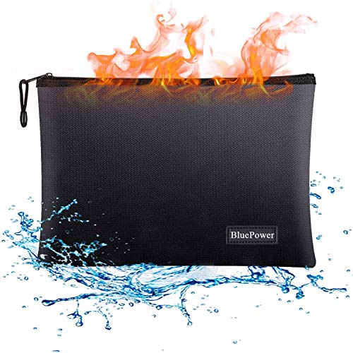 "Fireproof Document Bags,15""x 11"" Large Waterproof and Fireproof Folder Money Bag,Fire & Water Resistant Safe Storage Pouch Envelope with Zipper for A4 Document Holder,File,Cash,Tablet,Passport,Jewelry"