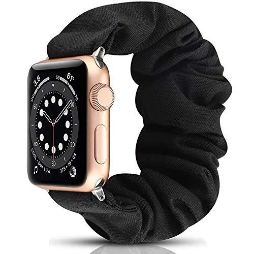 Miimall - Bracciale Scrunchie Compatibile con Apple Watch Series 5/4/3/2/1 (44Mm/42Mm, Nero)