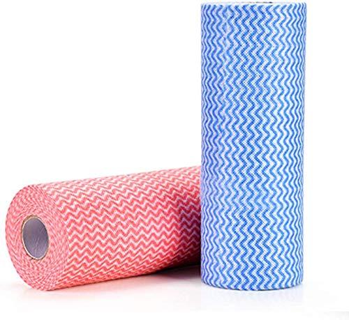 Paño de limpieza desechable (2 rollos/100 piezas), multiusos, tela no tejida, no tejida, no tejida, para cocina, desechable, limpieza antiadherente, paño de limpieza para casa, paño de limpieza