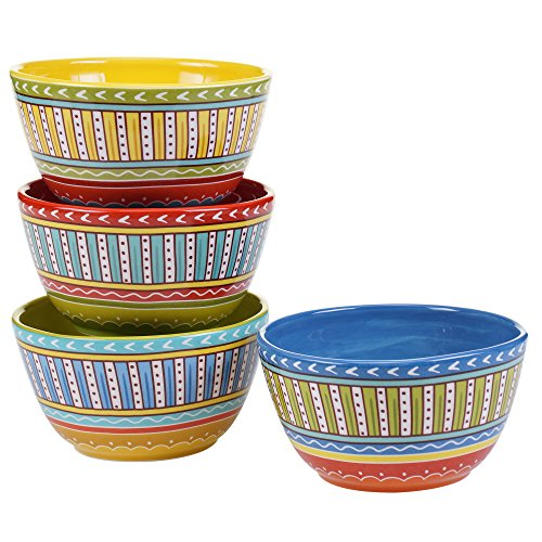 Certified International Valencia Ice Cream Bowls (Set of 4), 6', Multicolor