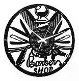 Instant Karma Clocks Orologio da Parete Barber Shop Barbiere Parrucchiere Idea Regalo Salone Bellezza Accessori Uomo, Nero Vinile, 30cm