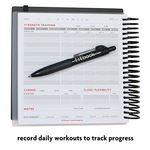 Product Image 6: Fitlosophy Fitbook: Fitness Journal and Planner for Workouts, Weight Loss and Exercise, Black Single (12-Week)