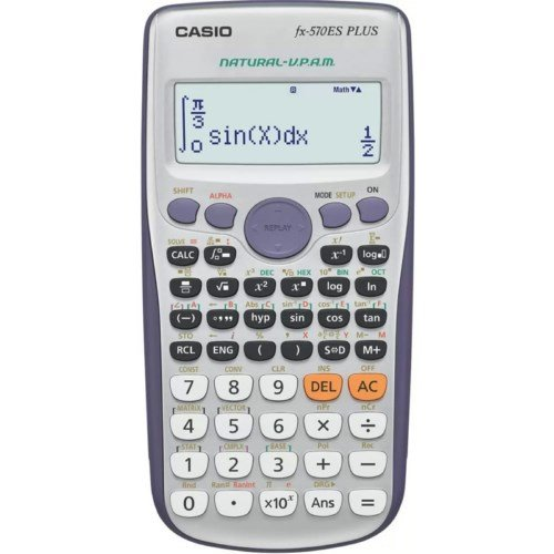 Casio 570es Plus–Calcolatrice, Desktop, Batteria Ricaricabile, Display calculator, Grigio, Argento, Bottoni, Dot Matrix)