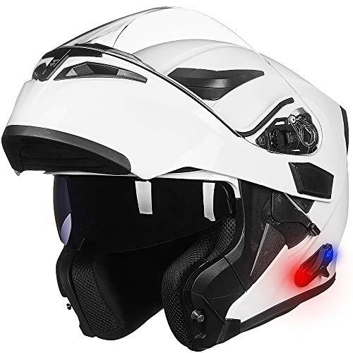 ILM Bluetooth Motorcycle Helmet Modular Flip up Full Face Dual Visor 6 Riders Group Intercom Mp3 FM Radio DOT(White, XX-Large)