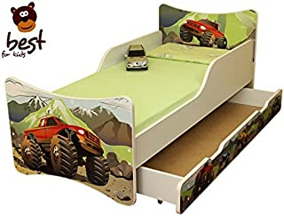 BEST FOR KIDS- Children Toddler bed- wooden low sleeper with Guardrails Drawers 70x160 DESIGNS AUTOMOBILE